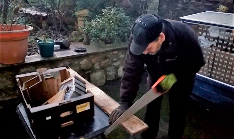 Brian Keeley Sawing Wood For Bird Nesting Box Sculpture Jan 2021